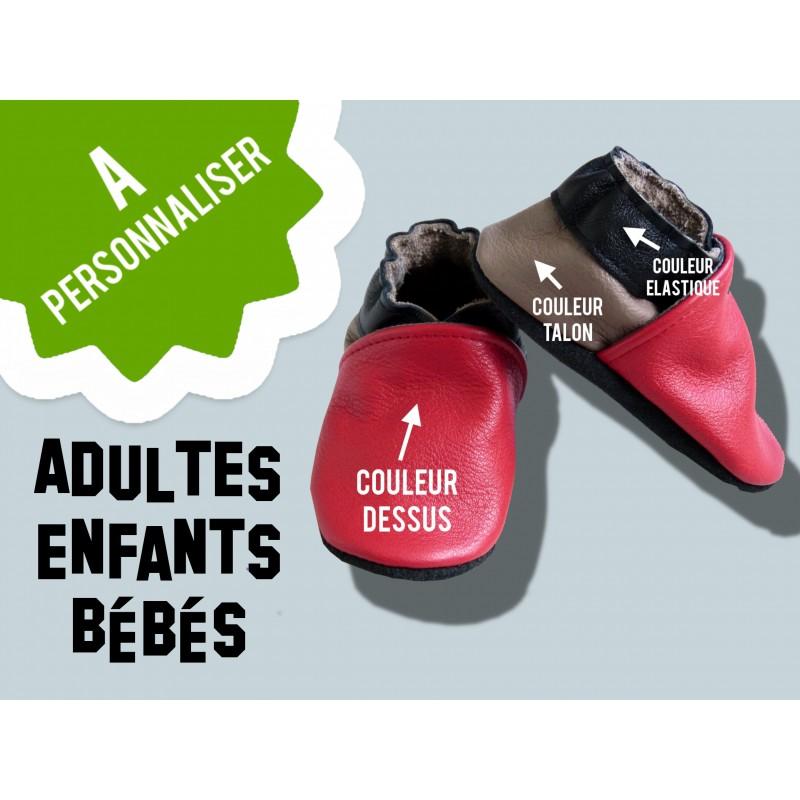Chaussons en cuir enfant et adulte - Couleurs à personnaliser - Unique et original