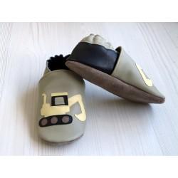 Chaussons en cuir souple - Pelleteuse. Antidérapants et résistants