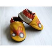 Chaussons en cuir souple - Tracteurs jaunes. Antidérapants et résistants