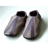 Chaussons en cuir souples - Taupe, Prune Triangle. Antidérapants et résistants