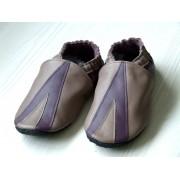Chaussons en cuir souples bébé, enfant et adulte - Taupe, Prune, Triangle