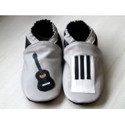 Chaussons en cuir souples bébé, enfant et adulte - Musique Gris