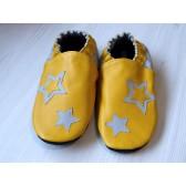 Chaussons en cuir souples - Jaune, Gris et étoiles. Antidérapants et résistants