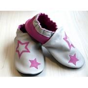 Chaussons en cuir souples bébé, enfant et adulte - Rose, Gris et étoiles