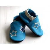 Chaussons en cuir souples - Bleus et étoiles. Antidérapants et résistants
