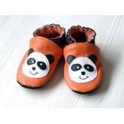 Chaussons en cuir souple - Mes Pandas oranges