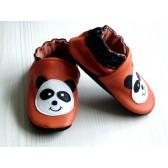 Chaussons en cuir souple - Pandas oranges. Antidérapants et résistants