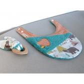 Bavoir et anneau de dentition : Tipi. Hochet et serviette pour le repas