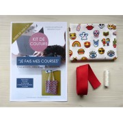 Kit de couture - Je fais mes courses - Tote bag - Emoticônes