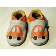 Chaussons en cuir souple - Mes voitures oranges