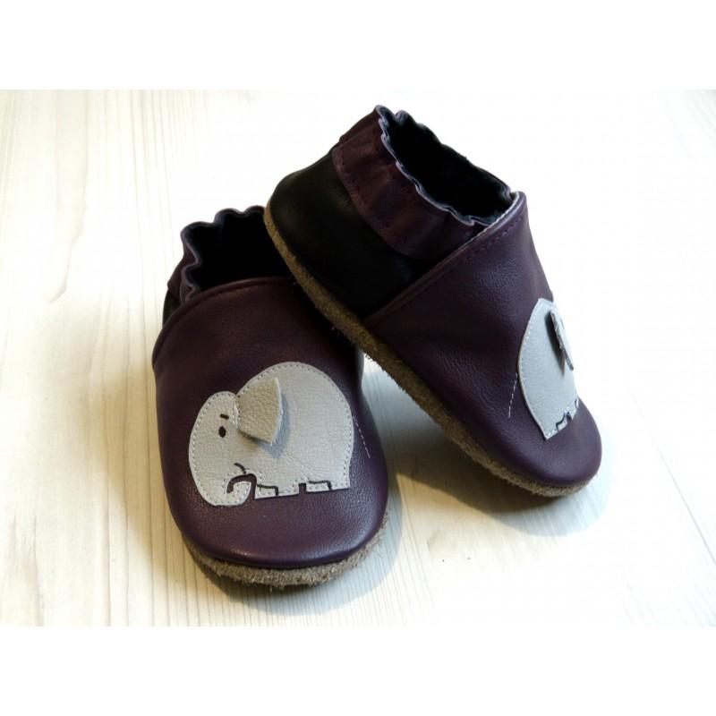 Chaussons en cuir souple - Éléphant prunes. Antidérapants et résistants