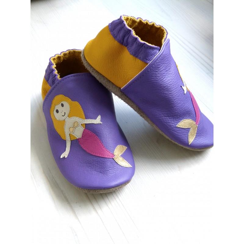Chaussons en cuir souple - Sirènes violettes. Antidérapants et résistants