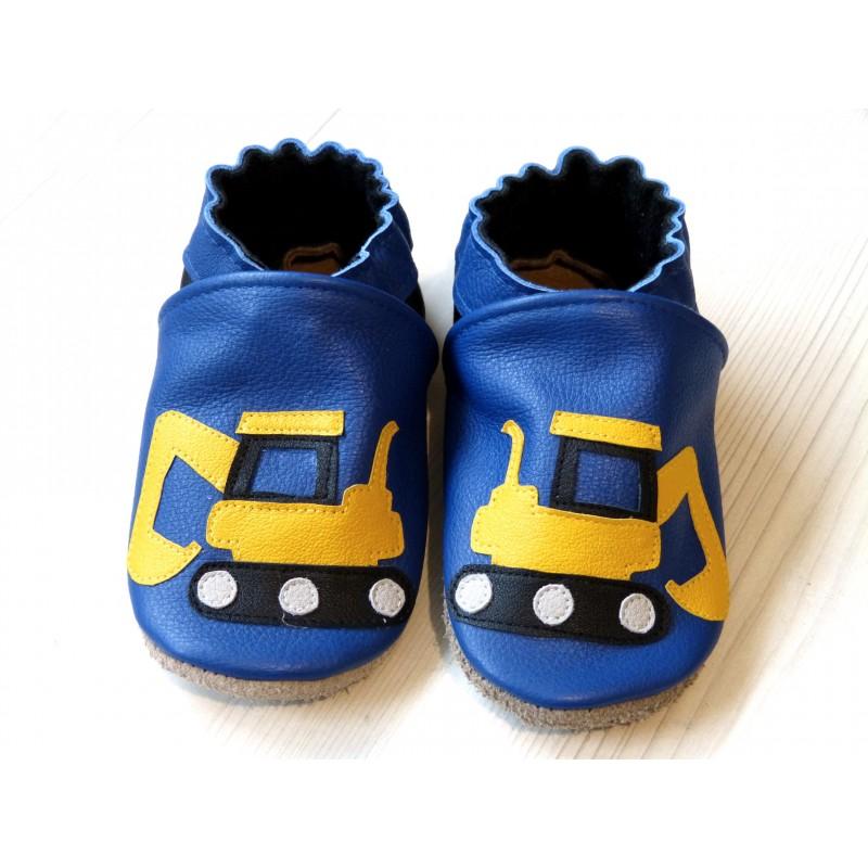 Chaussons en cuir souple - Pelleteuses bleues. Antidérapants et résistants