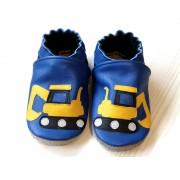 Chaussons en cuir souple - Mes pelleteuses bleues