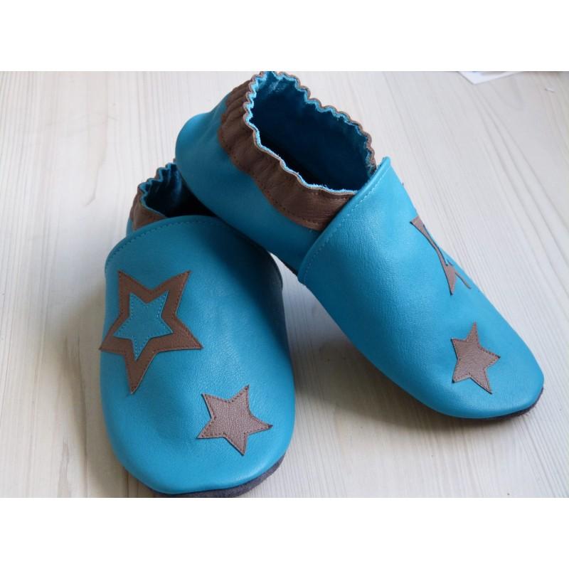 Chaussons en cuir souples - Bleus et étoiles Taupes. Antidérapants et résistants