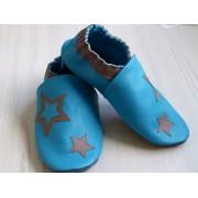 Chaussons en cuir souples bébé, enfant et adulte - Bleus et étoiles taupes