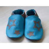 Chaussons en cuir souples - Bleus et étoiles Taupes. Fait main et unique.