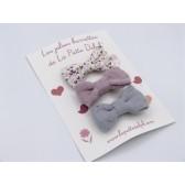 Les jolies barrettes : crées et cousues à la main. Fleurs rose et gris.