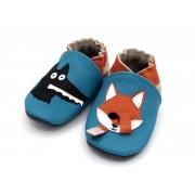 Chaussons en cuir souple - Le loup et le renard bleu