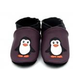 Chaussons en cuir souple - Pingouins. Antidérapants et résistants