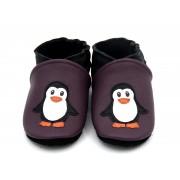 Chaussons en cuir souples bébé, enfant et adulte - Pingouins