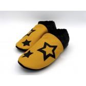 Chaussons en cuir souples - Jaune, Noir et étoiles. Antidérapants et résistants