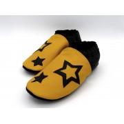 Chaussons en cuir souples bébé, enfant et adulte - Jaune, Noir et étoiles