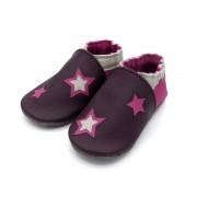 Chaussons en cuir souples bébé, enfant et adulte - Rose, Prune et étoiles