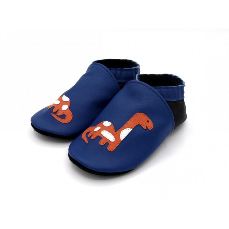 Chaussons en cuir souple - Dinosaures bleus. Fait main et unique.