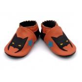 Chaussons en cuir souple - Super héros orange. Antidérapants et résistants
