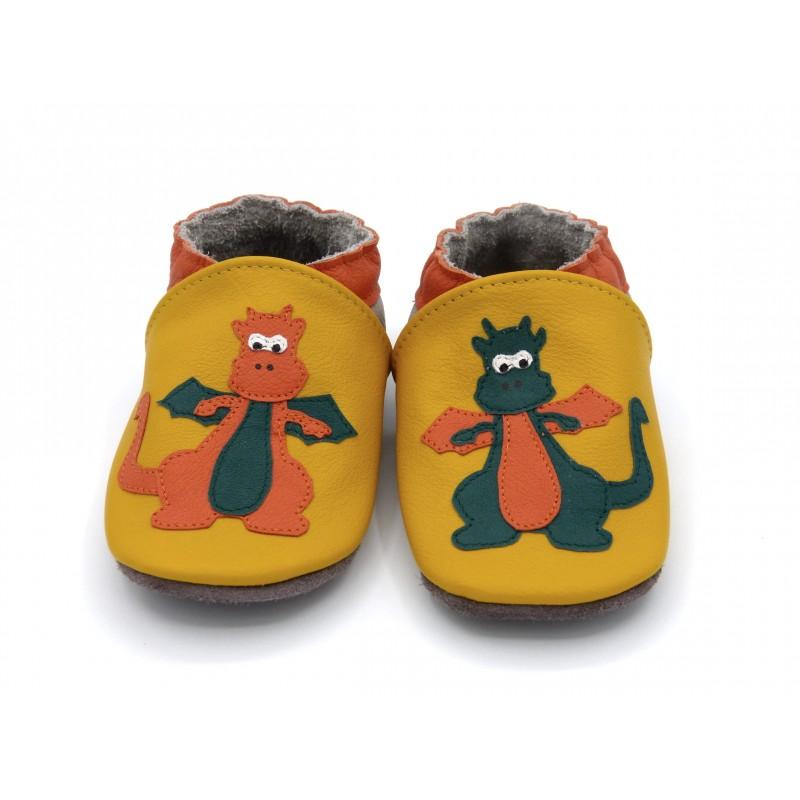 Chaussons en cuir souple - Mes dragons. Antidérapants et résistants