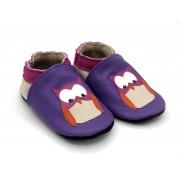 Chaussons en cuir souple - Mes Chouettes violet