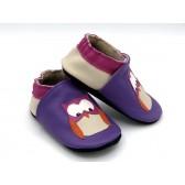 Chaussons en cuir souple - Chouettes violet. Antidérapants et résistants
