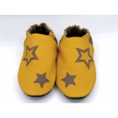Chaussons en cuir souples - Jaune soleil, Taupe et étoiles. Antidérapants et résistants