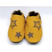 Chaussons en cuir souples bébé, enfant et adulte - Jaune Soleil, Taupe et étoiles