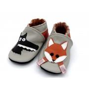 Chaussons en cuir souple - Le loup et le renard