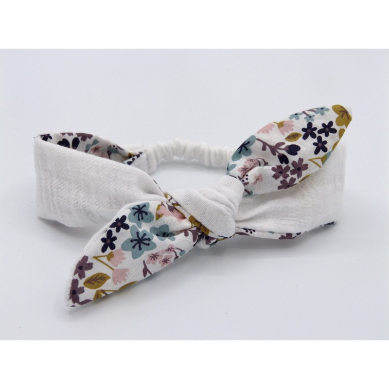 Les jolies bandeaux - Blanc fleuri : élastique pour la tenue dans les cheveux