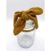 Les jolies bandeaux - Jaune pailleté : double gaze de coton