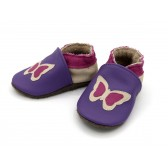 Chaussons en cuir souple - Papillon violet. Fait main et unique.