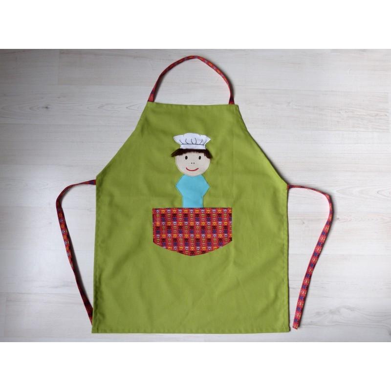 Tablier garçon : Ptit chef vert. Idéal cuisine, jardin, loisirs