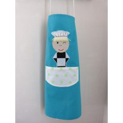 Tablier enfant : Ptit chef turquoise. Utilisation simple