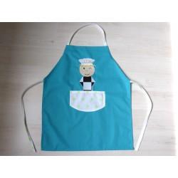 Tablier garçon : Ptit chef turquoise. Idéal cuisine, jardin, loisirs