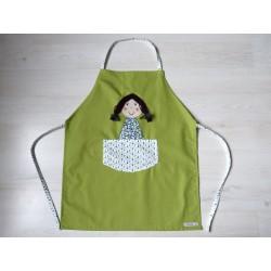 Tablier fille : Poupette verte. Idéal cuisine, jardin, loisirs