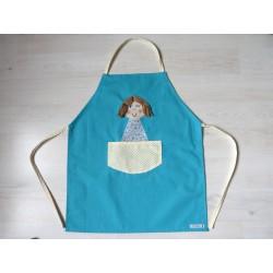 Tablier fille : Poupette turquoise. Idéal cuisine, jardin, loisirs
