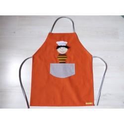 Tablier garçon : Ptit chef orange. Idéal cuisine, jardin, loisirs