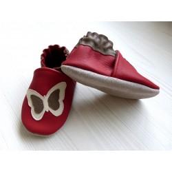 Chaussons en cuir souple - Papillon rouge. Antidérapants et résistants
