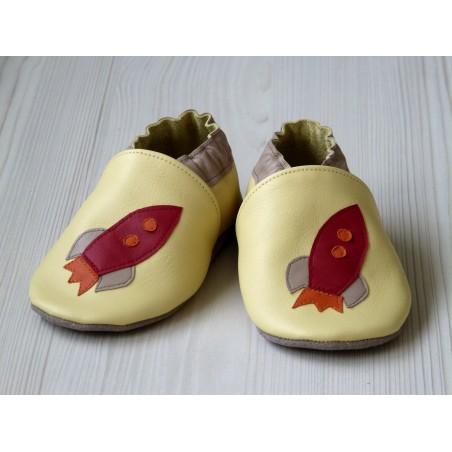 Chaussons en cuir souple - Fusée jaune
