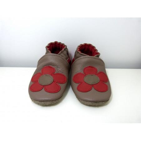 Chaussons en cuir souple - Mes Fleurs taupe