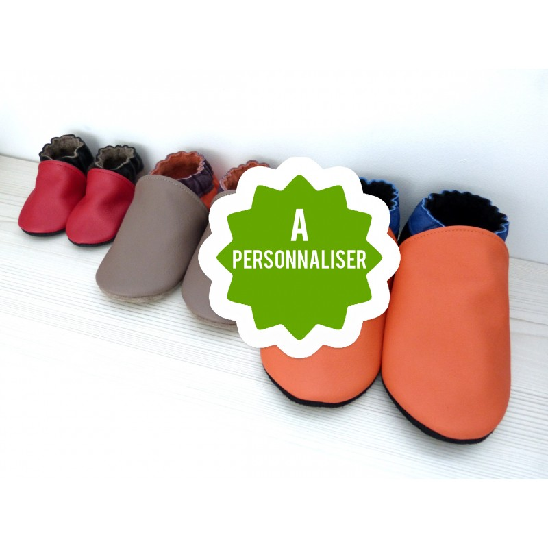 Chaussons en cuir avec couleurs à personnaliser