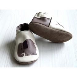 Chaussons en cuir souple - Eléphants ivoire. Antidérapants et résistants